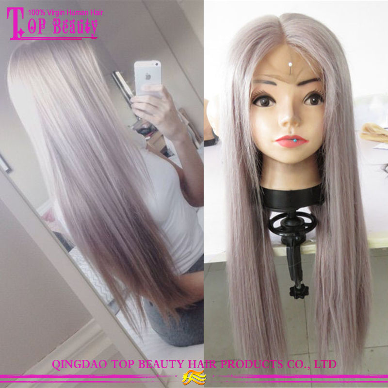 2017 New Arrival Silver Grey Human Hair Lace Wigs 100% Human Hair Brazilian Remy Virgin Hair Silver Wigs