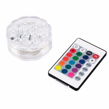 Submersible Led Light , Underwater 10-LEDs RGB Tea Lights Multi Color Changing w/Remote Control For Wedding, Party Decor