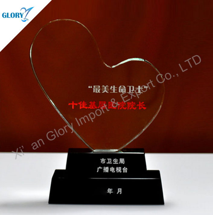 Wholesale Blank Crystal Heart Trophy With Black Base