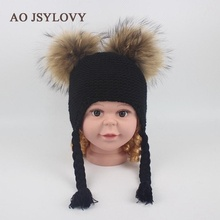 Welcome Winter High Quality Custom Desgin Knitted Winter Women Fur Pom Pom Hats