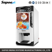Sapoe latest design automatically coin operated coffee vending machine for brand shop