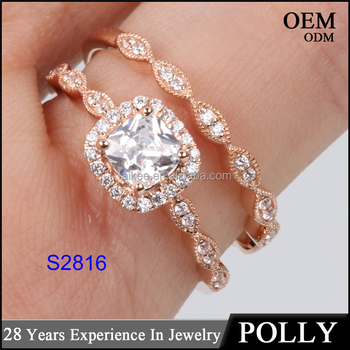 New arriving 14KT solid gold ring set women fashion ring AAAAA CZ