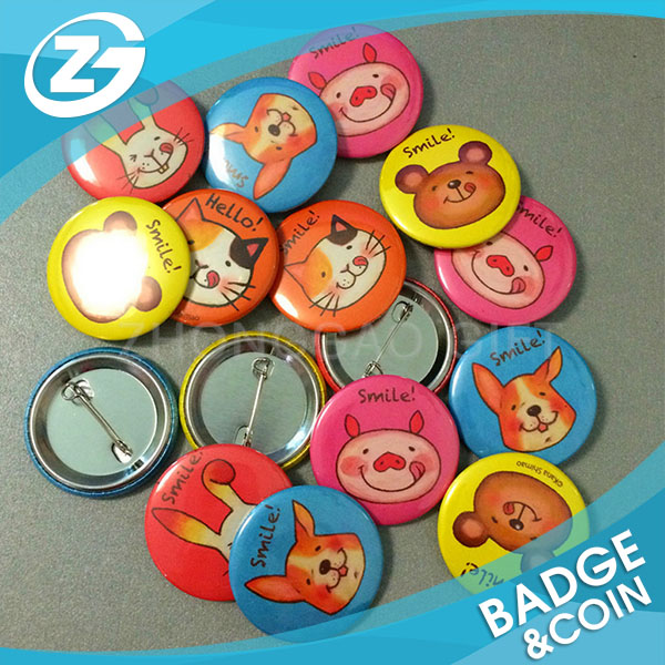 Promotional Gifts Custom Design Personalized Printing Plastic and Metal Button Pin Badges