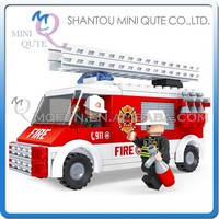 Mini Qute DIY Fire fighting truck cruiser vehicle action figures plastic cube building blocks bricks educational toy NO.21402