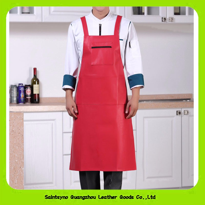 Ladies Red Kitchen Apron And Chef Leather Apron, - Use In Home, Restaurants For Cooking And Grilling 16018