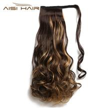 AISI HAIR xuchang factory cheap wholesale fake hair body wave highlight long ponytail synthetic ponytail hair extensions