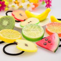 Cute Artificial Section Watermelon Lemon Fruit Elastic Hair Ties Band Ponytail Holders