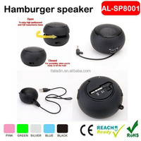 2015 portable hamburger ball speaker mobile phone amplifier professional car mini speaker with usb charger