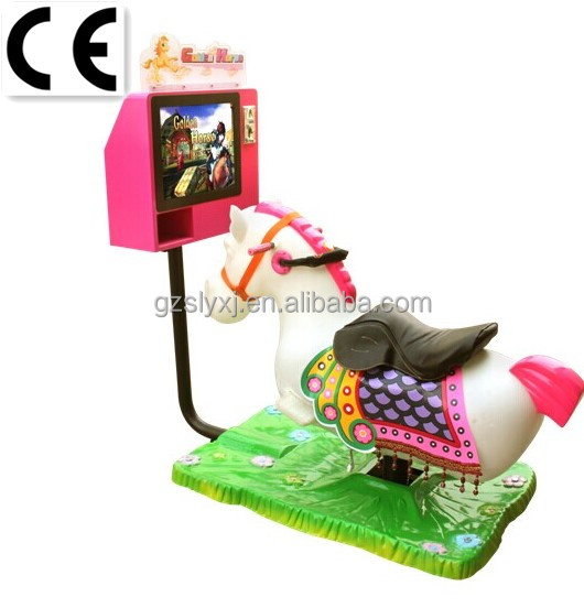Hot sale slot game machine coin operated 2d mini horse kids ride video swing car