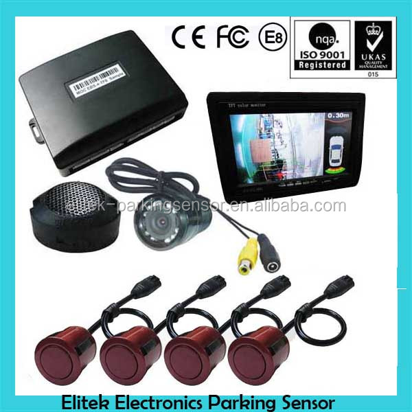 car video parking sensor with 4 double angle sensors and TFT LCD monitor and hidden camera can be option
