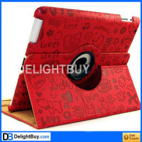 360 degree rotating Smart Cover case with artificial leather for iPad 2/3 (RED)