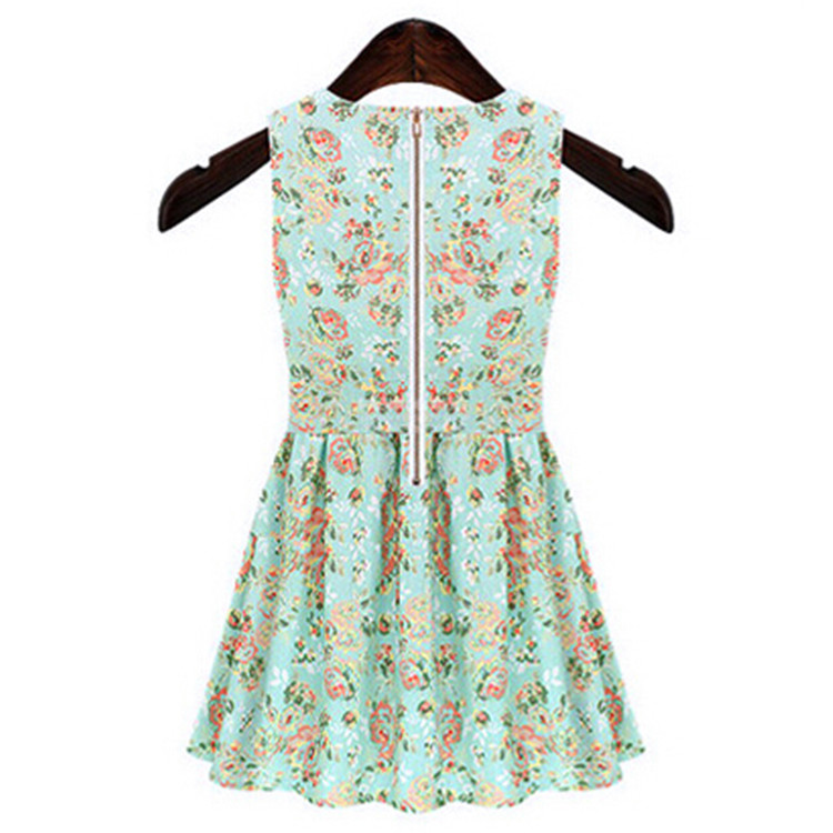 2015 Summer Ladies Fashion O-Neck Print Dresses Spring Women Casual Plus Size Sleeveless Floral Dress Vestido
