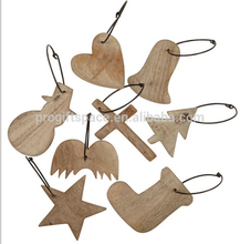 2017 new hot sales handmade craft wholesale gift star snowman cross tree sock heart bell ornament wooden Christmas decorations