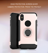 Carbon fiber Ring Kickstand Soft TPU Phone case for apple iphone x TPU Silicone magnetic car stand