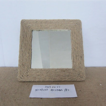 Handmade Wood Frame Rope Decorated Tabletop Mirror