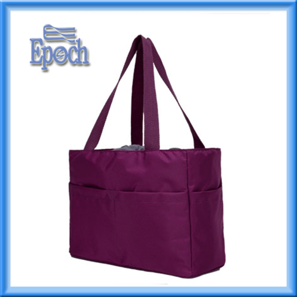 Multi function polyester handbag in dark purple