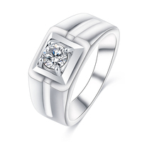 LZESHINE High Mill Polish Men's Wedding Brands Engagement White Gold Rings AAA Zirconia Micro Pave Jewelry Square Ring CRI0410-B
