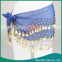 Hot Selling 128 Golden Coins Belly Dance Hip Scarf
