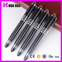 Shiny black metal roller tip pen custom-made gift roller pen with metal clip customized