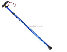 Outdoor Adjustable Easy Folding Lightweight Trekking Hiking Walking Stick Cane Handle Blue