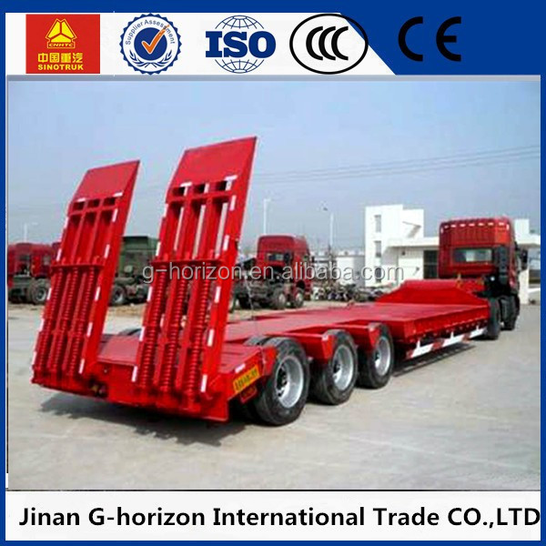 China manufacturer 3 axles 50tons hydraulic low bed truck trailer for sale