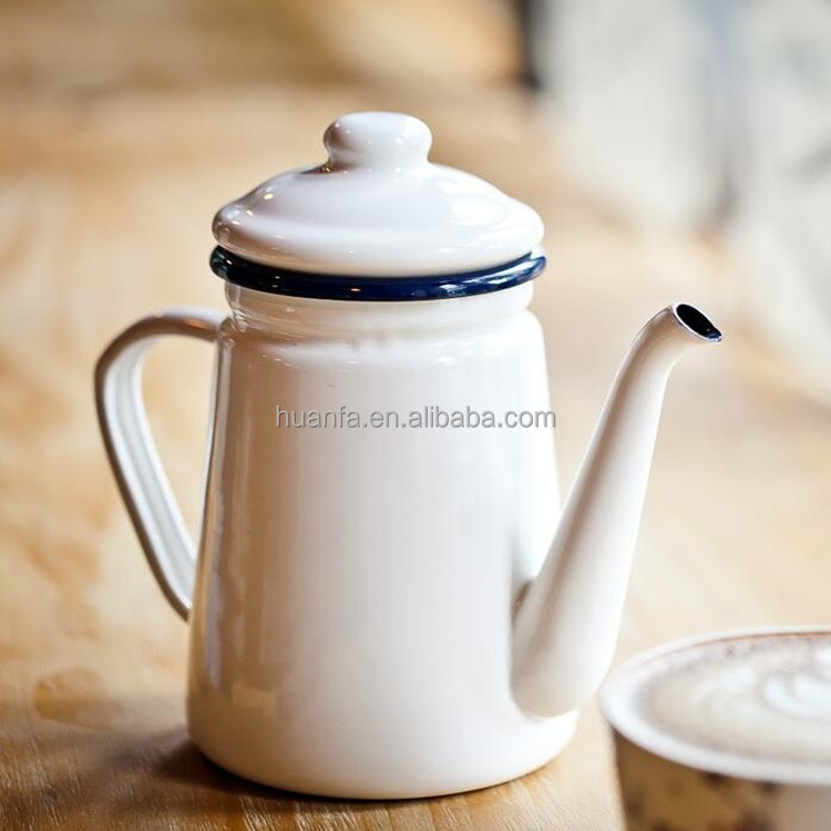 1.1 L white or red Single porcelain enamel tea kettle cool water pot oiler pot Enamel coffee pot