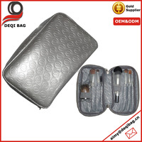 Silver Leather Cosmetic Makeup Case Customized Embossed Brushes Organizer Bag