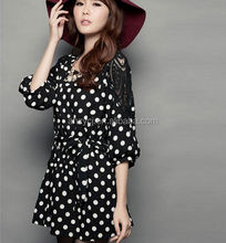 design ladies clothes long sleeve lovely round dot new fashion lace women casual dress