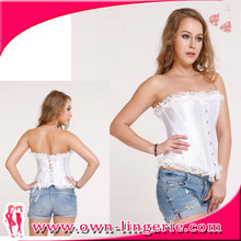 Lace Top Lolita Style Ruffle Top Plain White Corsets and Bustiers