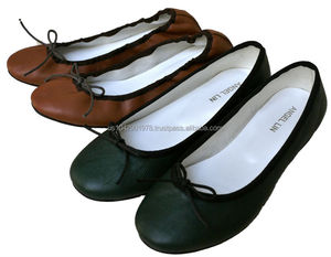 Handmade Genuine Lambskin Sheep Leather Ballet Draw String Flats Shoes