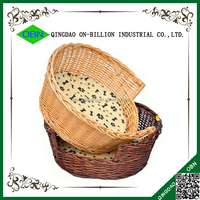 Hand knitting pet bed wicker basket for dog