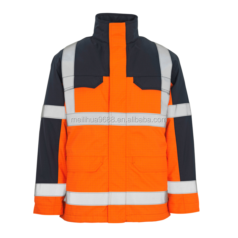2016 New fluroscent top quality oxford waterproof 3M safety reflective jacket