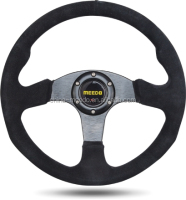 "New 14"" Black Velvet black Stitch Sport Racing Steering Wheel + Horn Button"