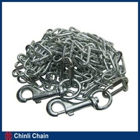 Welded Dog Lead Chain with Swivel Hook,Chrome Plated Dog Chain,Iron snap on both ends