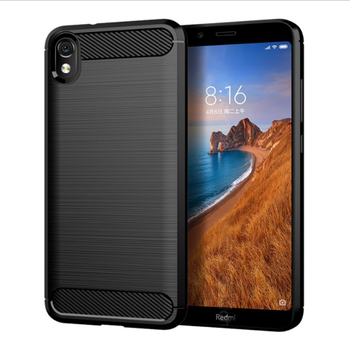 New simple fashion soft TPU brushed carbon fibre shock proof mobile phone back cover case for Xiaomi Redmi 7A