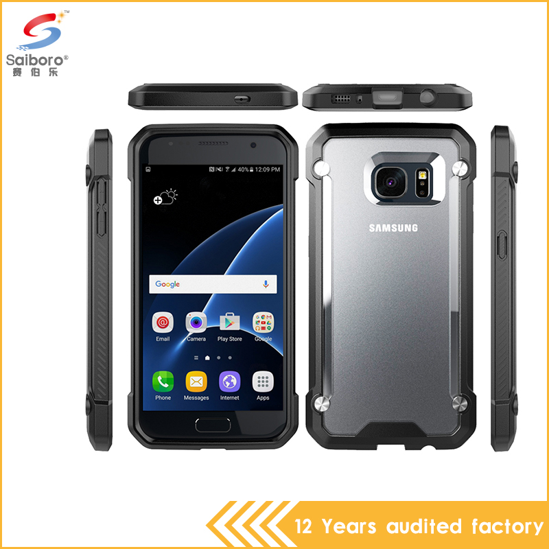 wholesale china factory armor bumper cool tpu pc dot view case for samsung galaxy s7