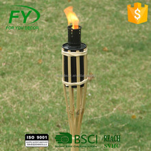 High Quality tank Nature decorative black metal bamboo tiki torch