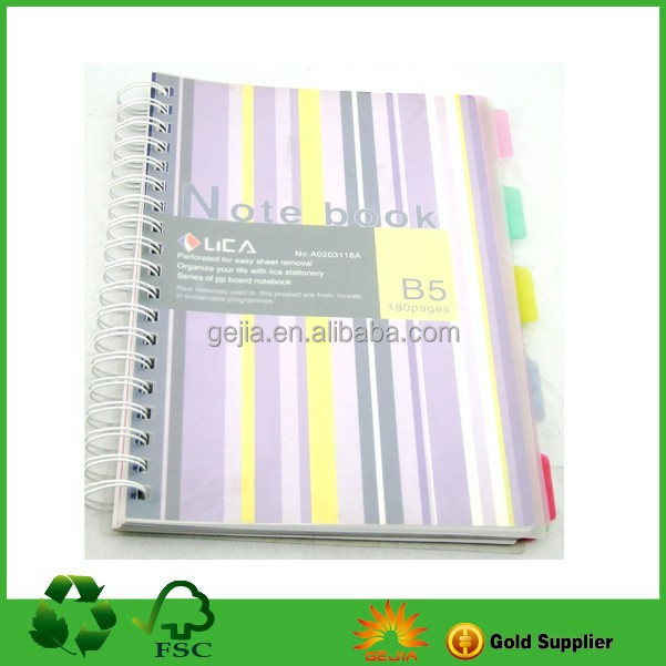 PP cover spiral notebook with color dividers ISO