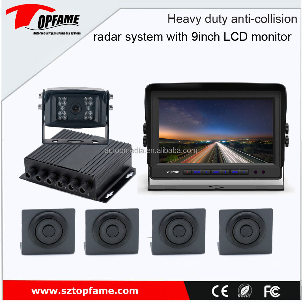 TOPFAME PS-9017 Truck/bus/car parking sensor system with HD camera, 9inch LCD monitor,0.4-5m sensor detection