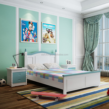 Latest double or single bed designs solid wood chidren bed with storage cabinet