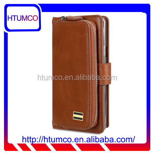 Popular Folio Brown Wax Leather case for Samsung Galaxy Note 5