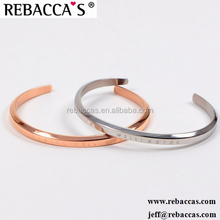 Rebaccas Wholesale bulk LOGO custom bracelet monogram engraved stamped metal stainless steel cuff bracelet