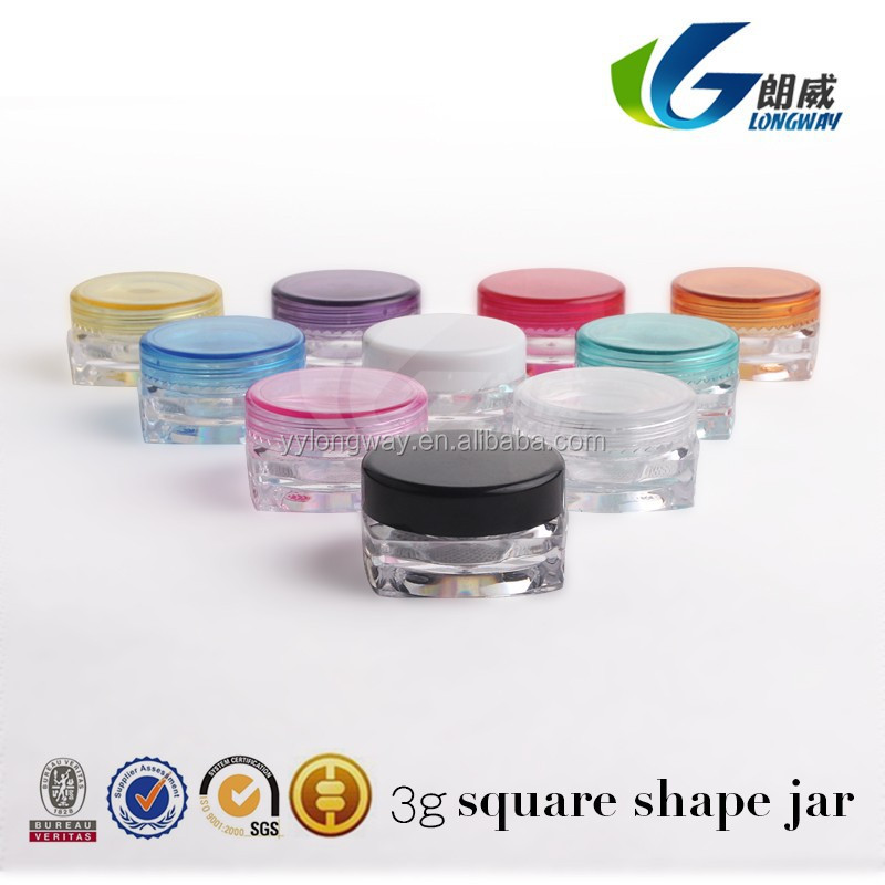 New, High Quality, Empty, Clear, 3Gram Plastic Pot Jars, 3g jar Cosmetic Containers, With Lids.