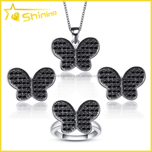 wholesale rhodium plated black & white butterfly cz 925 sterling silver micro pave jewelry set