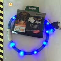Soft Comfortable Silicone USB rechargeable LED collar, USB LED dog collar ,charging silicone LED pet collar