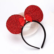 Fashion Glitter Cat Ear Bow Knot Fabric Cover Headband