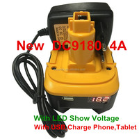 18V 4.0Ah Li-ion battery for Dewalt DC9180 with LED USB Power Tools Battery Pack Cordless drill Rechargeable Lithium battery