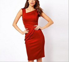 Women Red Dresses Elegant Optical Illusion Color V-Neck Bodycon Work Casual Office Pencil Dress