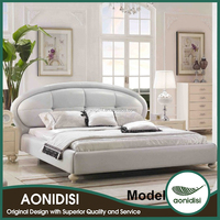 Grey European Bed Leather/Full PU/Full PVC/Fabric