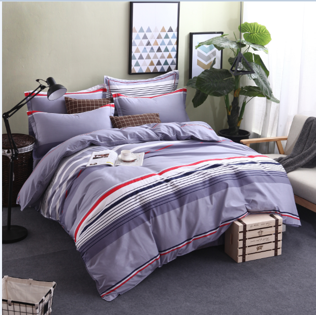 100% Cotton Bed Sheets light color Bedding Set Simple Style Blue Bed Cover